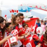 People wearing Canada flags