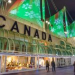 Christmas at Canada Place, festive lights on a building